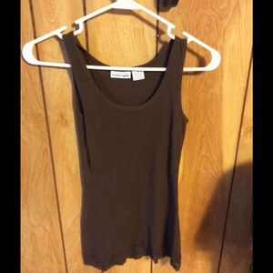 Energie Medium Brown Ribbed Tank with Lace Trim